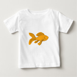 Gold Butterfly Koi Swimming Drawing Baby T-Shirt