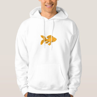 Gold Butterfly Koi Swimming Drawing Hoodie