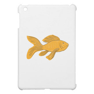 Gold Butterfly Koi Swimming Drawing iPad Mini Cover
