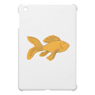 Gold Butterfly Koi Swimming Drawing iPad Mini Covers