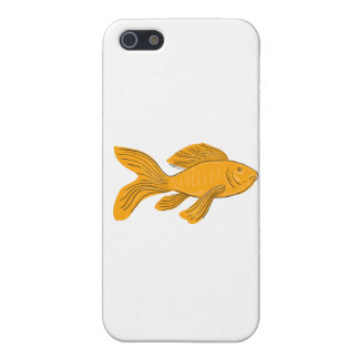 Gold Butterfly Koi Swimming Drawing iPhone 5/5S Cases