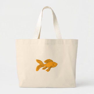 Gold Butterfly Koi Swimming Drawing Large Tote Bag