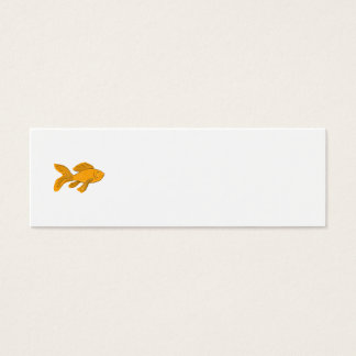 Gold Butterfly Koi Swimming Drawing Mini Business Card
