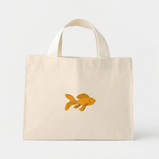 Gold Butterfly Koi Swimming Drawing Mini Tote Bag