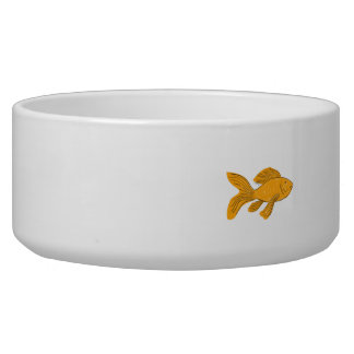 Gold Butterfly Koi Swimming Drawing Pet Food Bowl
