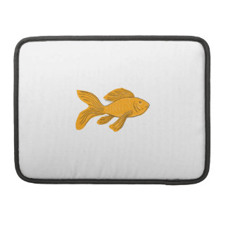 Gold Butterfly Koi Swimming Drawing Sleeve For MacBooks