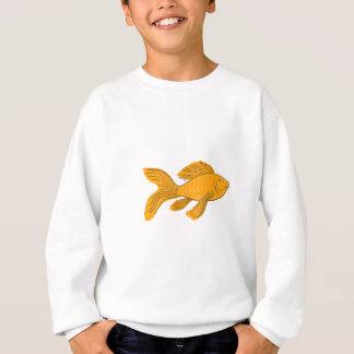 Gold Butterfly Koi Swimming Drawing Sweatshirt