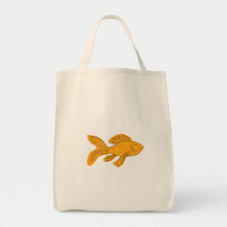 Gold Butterfly Koi Swimming Drawing Tote Bag