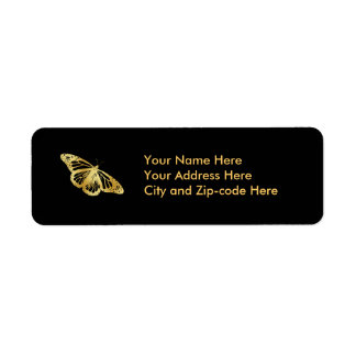 Gold Butterfly Custom Return Address Labels