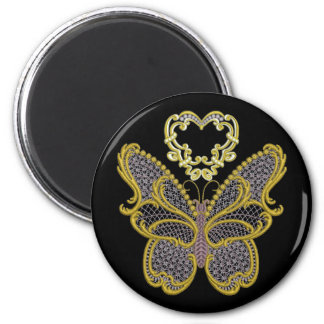 Gold Butterfly Round Magnet