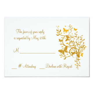 """Gold Butterfly Wedding RSVP Card 3.5"""" X 5"""" Invitation Card"""
