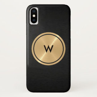 Gold Button and Black Stainless Steel Metal Case-Mate iPhone Case