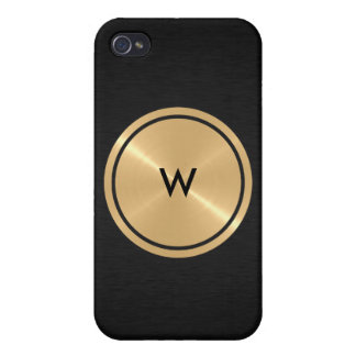Gold Button and Black Stainless Steel Metal iPhone 4 Case