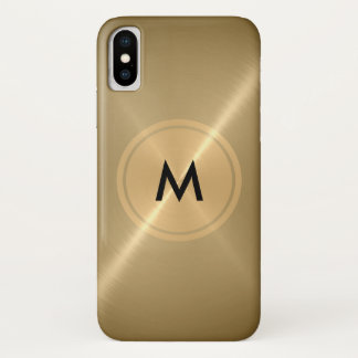 Gold Button and Bronze Stainless Steel Metal iPhone X Case