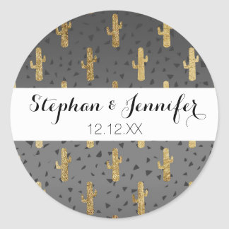 Gold Cactus on Modern Chic Geo Triangles Gradient Classic Round Sticker
