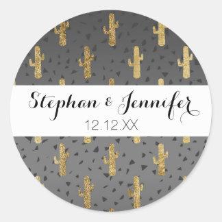 Gold Cactus on Modern Chic Geo Triangles Gradient Round Sticker