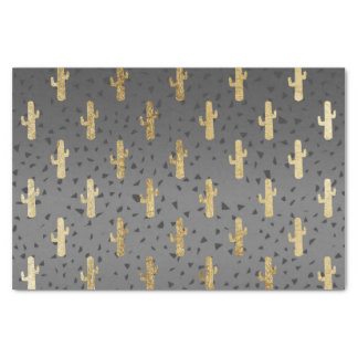 Gold Cactus on Modern Chic Geo Triangles Gradient Tissue Paper