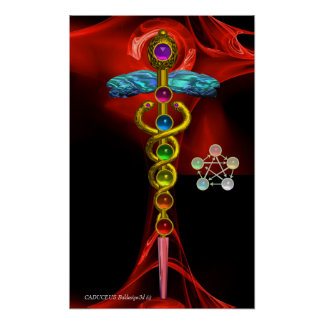 GOLD CADUCEUS AND 7 CHAKRAS IN RED FRACTAL ROSE POSTER