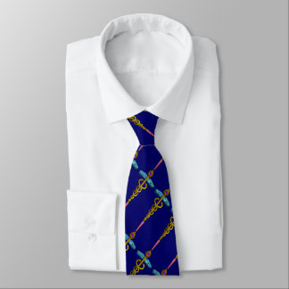 GOLD CADUCEUS MEDICAL SYMBOL , Blue Tie