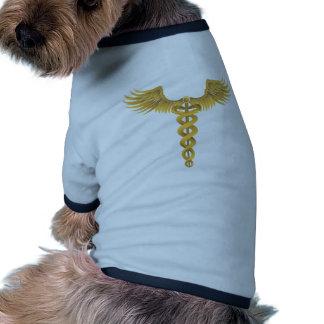 Gold Caduceus Medical Symbol Dog Shirt