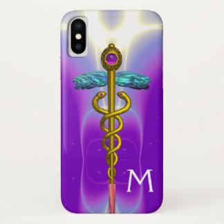 GOLD CADUCEUS MEDICAL SYMBOL Purple Monogram iPhone X Case