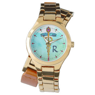 GOLD CADUCEUS MONOGRAM ,Aqua Blue,Teal Green Watch