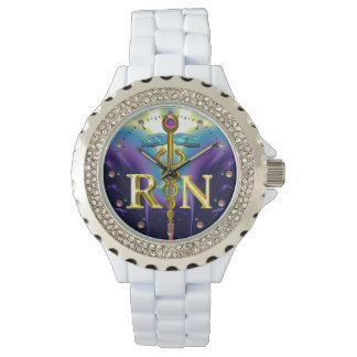 GOLD CADUCEUS REGISTERED NURSE SYMBOL Purple Blue Wrist Watch
