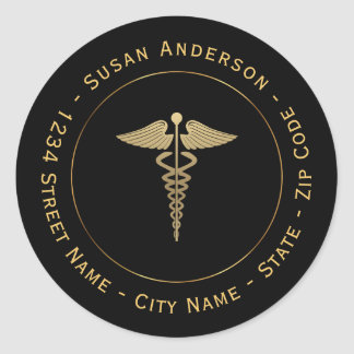 Gold Caduceus Symbol Return Address Label