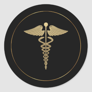 Gold Caduceus Symbol Sticker