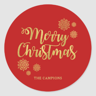 Gold Calligraphy Merry Christmas Red Holiday Classic Round Sticker
