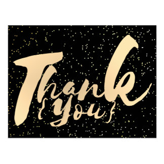 Gold Calligraphy Thank You Dots on Black Faux Foil Postcard
