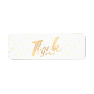 Gold Calligraphy Thank You Dots on White Faux Foil