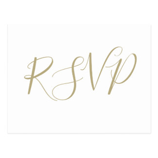 Gold calligraphy wedding RSVP postcards