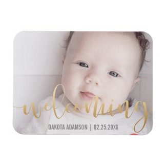 Gold Calligraphy Welcoming Birth Announcement Magnet
