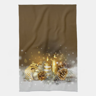 Gold Candles Christmas Elegant Holiday Home Decor Kitchen Towel