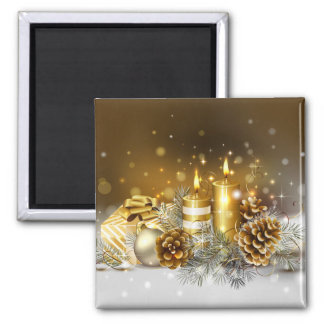 Gold Candles Christmas Elegant Holiday Magnet
