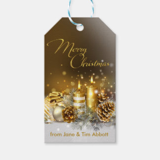 Gold Candles Merry Christmas Elegant Holiday Gift Tags
