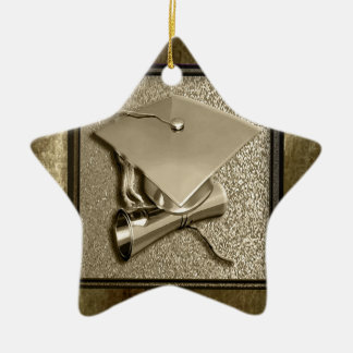 Gold Cap and Diploma on Gold Ceramic Star Ornament