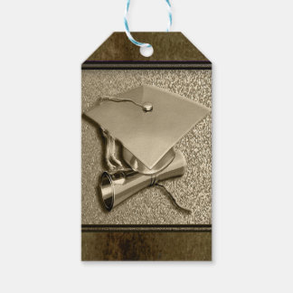 Gold Cap and Diploma on Gold Gift Tags