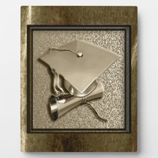Gold Cap and Diploma on Gold Plaque