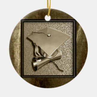 Gold Cap and Diploma on Gold Round Ceramic Ornament
