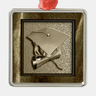 Gold Cap and Diploma on Gold Silver-Colored Square Ornament