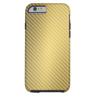 Gold Carbon Fiber Pattern Base Tough iPhone 6 Case