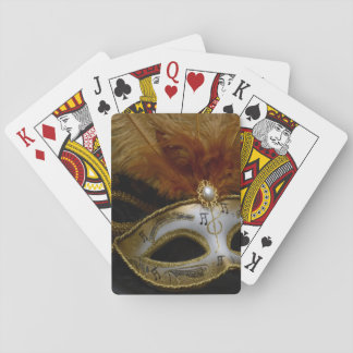 Gold Carnival Venetian Mask Masquerade Playing Cards
