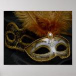 Gold Carnival Venetian Mask Masquerade Poster