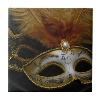 Gold Carnival Venetian Mask Masquerade Tile