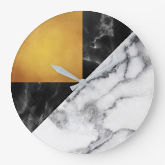 Gold Carrara Marble Gray Geometry Black Luxury Large Clock
