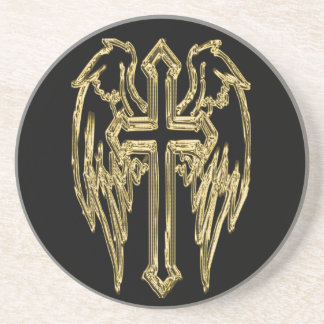 Gold catholic cross with wings coaster