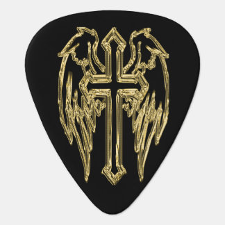 Gold catholic cross with wings guitar pick