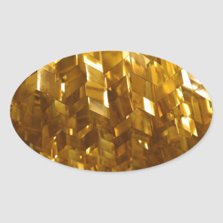 Gold Ceiling Abstract Art Oval Sticker